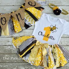 Bumble Bee 1st Birthday Girl Outfit 1st by ThePickledPeanut