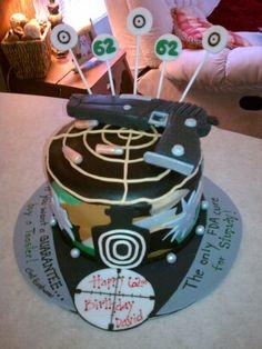 Shooting range cake. with edible gun