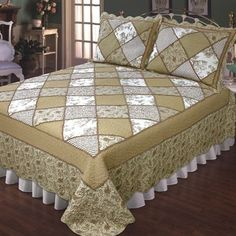 The handcrafted cotton Jacqueline Patchwork Quilt Bedding will give any bedroom a beautiful new look. Patchwork Quilt has solid, floral, striped, and paisley. Quilt Bedding, Comforters, Diy And Crafts, Quilts, Blanket, Bedroom, Cotton, Furniture, Home Decor