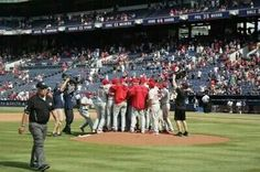 9-1-14 ~ Celebrating the 1st combined no hitter in Phillies history! Hamels, Deikman, Giles, and Paplebon. Phils 7, Braves 0 #nohits