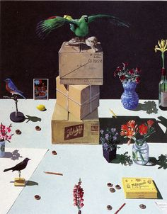 Paul Wonner. Dutch Still-life with Stuffed Birds and Chocolates. 1981.   by tiny banquet committee