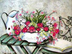 Я очень редко о чем-то жалею, но когда я увидела работы этой художницы, мне стало очень-приочень жаль, что я совсем не рисую. Я не знаю почему эти картины нашли в моей душе такой отклик. Может быть любовь к цветам и ржавым вёдрышкам а может быть что-то другое. Информация об авторе в интернете очень скудная. Stella Bruwer родилась в 1964 году в Намибии. Выросла на ферме.