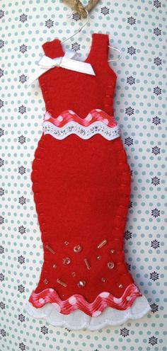 Red Felt Valentine Holiday Dress Ornament