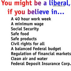 If you believe in any or all of these things, you aren't labeling yourself yourself a Liberal, you are simply someone who wants considerably basic things provided for yourself or your family, and your country. Progressive Liberal, Liberal Democrats, Liberal Views, Liberal Logic, Security Safe, Federal Budget, Financial Markets, Social Justice, Thought Provoking