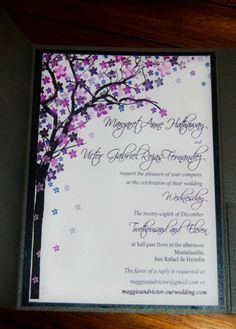 Rustic wedding invitation Purple wedding by OhSoYouWeddings, $2.00