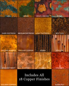 18 Sample Pack of colored copper from colorcopper.com