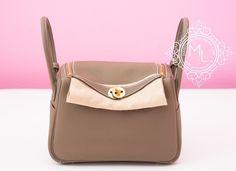 Hermes Etoupe Gray Clemence Lindy 26 Gold Hardware Handbag - New