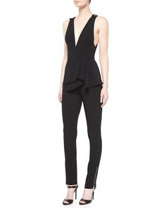 Elie Saab Sleeveless Peplum-Waist Jumpsuit, Black
