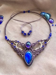bohemian macrame head piece Beige tribal labradorite tiara bridal ethnic choker necklace goddess crown