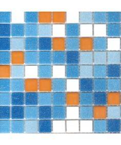 """Brio Newport Blend Glass Mosaic Tile 3/4"""" Multicolor Blue Tile Square with Orange Tiles"""