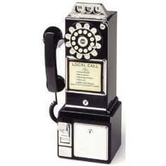 1950's Diner Style Wall Mounted Telephone - Black