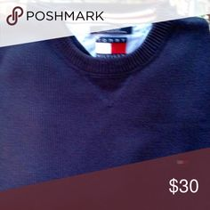 Men's Tommy Hilfiger navy sweater size XXL This TH sweater is in excellent preloved condition. Would be perfect for work or a busy weekend. Size XXL. Navy Tommy Hilfiger Shirts