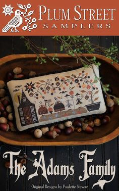 10% OFF Pre-order NEW Adams Family Halloween cross stitch patterns by Plum Street Samplers at cottageneedle.com John Adams October by thecottageneedle