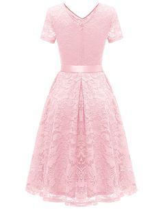 Bridesmay Womens Bridesmaid Dresses Floral Lace Cocktail Dress with Short Sleeve Pink 3XL -- Check out this fantastic item. (This is an affiliate link). #bridesmaiddresses