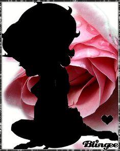 Betty Boop: Black Silhouette & Pink Roses