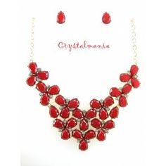 Set de collar y aretes en tono rojo estilo 3022