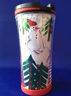 Starbucks Travel Mug 8 Ounce 2007 Winter Penguins Snowman Skiing Trees Snowmen #Starbucks