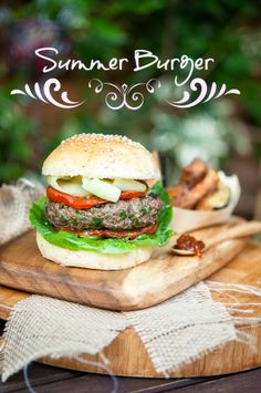 Summer Burger with Eggplant Fries