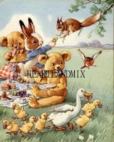 Vintage Teddy Bear Picnic Print to Frame by HEARTLANDMIX on Etsy