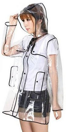 Clear rain coat.  Fun and funky fashion!