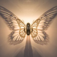 Horsten New Creative LED Wall Lamp Butterfly Lampshade Projection Shadow Wall Light Gold Butterfly Wall Sconce For Home Cafe Bathroom Wall Lights, Led Wall Lamp, Wall Sconces, Mirror Bathroom, Roman Clock, Led Light Fixtures, Light Led, Lampe Decoration, Metal Clock