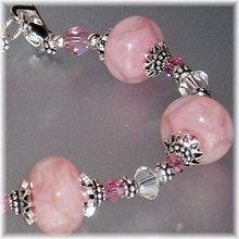 Pink Prisms~ Boro Lampwork, Swarovski, and Sterling Bracelet