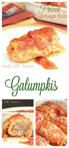 Polish Cabbage Rolls {Galumpkis} {Celebrating Our Heritage Series} - Family Table Treasures Polish Cabbage Rolls {Galumpkis} are cabbage leaves stuffed with a mixture of ground meat, spices and rice that are baked in a tomato sauce. Healthy and delicious! Cabbage Rolls Polish, Polish Stuffed Cabbage, Easy Cabbage Rolls, Cabbage Rolls Recipe, German Cabbage Rolls, Stuffed Cabbage Leaves, Stuffed Cabbage Recipes, Dinner On A Budget, Dinner Menu