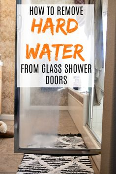 Learning How to Remove Hard Water Stains from Glass Shower Doors is possible! A few simple steps, tools and a whole lots of elbow grease is all it takes to get your glass shower doors looking like new in no time! Household Cleaning Tips, Deep Cleaning Tips, House Cleaning Tips, Diy Cleaning Products, Spring Cleaning, Cleaning Hacks, Cleaning Schedules, Weekly Cleaning, Cleaning Checklist