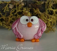 Lampwork Pinkie the Owl Bead by 'gardenpathbeads' on Etsy, $10.00~<3<3<3AWESOME OWL<3<3<3~