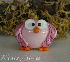Lampwork Pinkie the Owl Bead