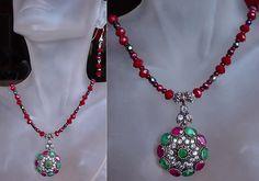 Purple Red Green Necklace c/w Ruby Emerald Quartz c/w by camexinc, $45.00