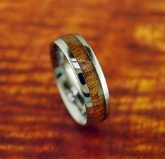 Tungsten Carbide Koa Wood Ring 6MM   Wedding by Silvershowroom, $58.00