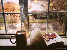 A cup of hot chocolate and a good book on a cold, wet autumn afternoon.