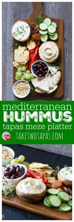 Take your holiday entertaining to the Mediterranean with a tapas platter complete with hummus and other snacks to keep your guests happy! Mediterranean Tapas Meze Platter for Your Holiday Entertaining Recipe Tutorial | Take Two Tapas