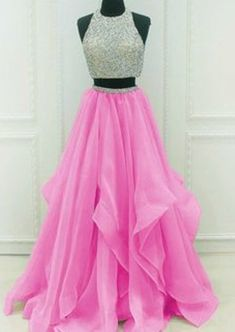 Sequins Beaded Organza Layered Two Piece | sparkledress Elegant Prom Dresses, Formal Dresses, Beaded Prom Dress, Wedding Veil, Custom Made, Ball Gowns, Layers, Sequins, Plus Size