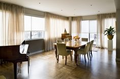 Sheer curtains offering a soft filtered view with motorised block out roller blinds providing privacy at night time Mini Blinds, Curtains With Blinds, Sheer Curtains, Drapery, Roller Blinds, Roller Shades, Apartment Living, Living Room, Custom Made Curtains