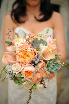 peach, ivory, white, succulent, lamb's ear, bridal bouquet // Events by Satra // Catherine Scott Flowers // George Street Photo