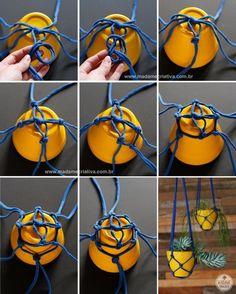Como fazer vasos pendurados com tiras de malha - Passo a passo com fotos - How to make a support for vases using fabric strips - DIY tutorial - Madame Criativa - www.madamecriativa.com.br