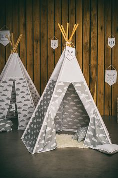 Teepee white cloud on grey/white top by ElenLiving on Etsy