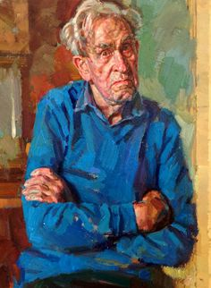 """KDS Photo, Royal Birmingham Society of Artists, Portrait Prize Exhibition, oil painting by Andrew James RP  """"My Father"""","""