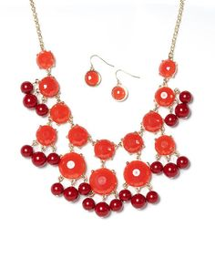 Gold & Red Circle Bib Necklace & Earrings by Ethel & Myrtle #zulily #zulilyfinds