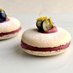 These macaroons are sandwiched together with a striking purple blueberry and lemon filling and can be served in the traditional manner with a glass of wine or a liqueur. This is a truly joyous macaroon recipe from Welsh chef, James Sommerin and will make enough to share with 12 guests