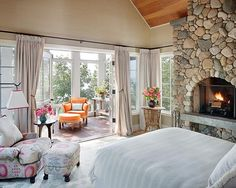 Bedroom Design, Pictures, Remodel, Decor and Ideas - Love the concept and the sitting area by the window