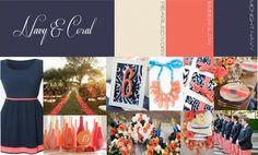 dark blue and coral wedding | ... Scheme | Chicago Wedding Planner | Visions Wedding & Event Boutique