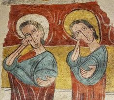 Los llorones de Susín.Pintura Romanica que se encuentra en el Museo Diocesano de Jaca