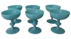Antique Blue Opaline Champagne Glasses - Set of 6 on Chairish.com