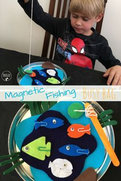 Magnetic Fishing Busy Bag idea for the kids when you are traveling!
