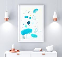 Teal Study II  Dare with #abstract art! Light up your decor with this original monochrome abstract painting. This #teal painting is perfect for light-yellow or soft-white walls. This unique drawing was hand painted on soft-white paper of 200 gms - 130 lbs  Size: 59cm x 42cm (23.4 x 16.5).  Signed on