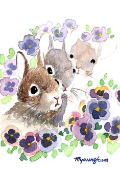 ACEO Limited Edition 1/25 Rabbit and pansies by annalee377 on Etsy