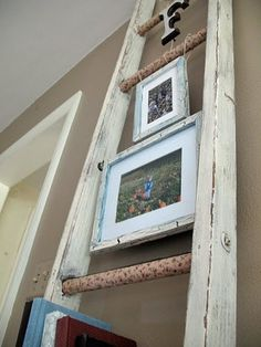 Vintage Shabby Chic Ladder- Hang frames and use as book shelf.